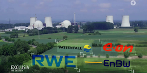 Foto aus Video: AKW in grüner Landschaft, eingebettet die Firmenlogos von Vattenfall, e.on, RWE und EnBW.