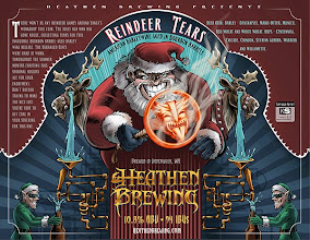 """Photo: For Heathen Brewing's holiday beer I designed this devilish Santa label for Reindeer Tears. I had a great time designing this! However, this almost wasn't the final design. I had a completely different illustration that was on the verge of being approved. But I didn't feel it was """"dark"""" enough and ended up doing a last minute rough version of the below label which won over the folks at Heathen. If you're ever in Vancouver, WA be sure to visit the good folks at Heathen Brewing and sample their amazing beers. Stock up on some Reindeer Tears and store it away. It will only get better with age."""