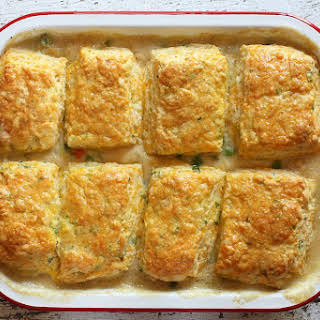 Chicken Pot Pie With Cheese Biscuit Topping.