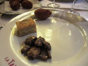 Photo: From top: Chicken croquette, some kind of potato thing and mushrooms