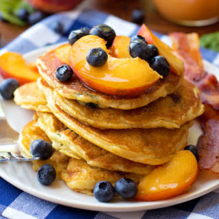 Blueberry Peach Cornmeal Pancakes