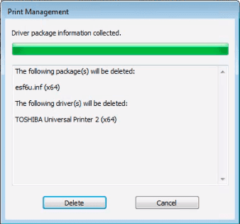 "Click on Delete button on the ""Remove Driver Package"" window in ""Print Management""."