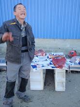 Photo: Greenland - Sisimiut - meat seller on street