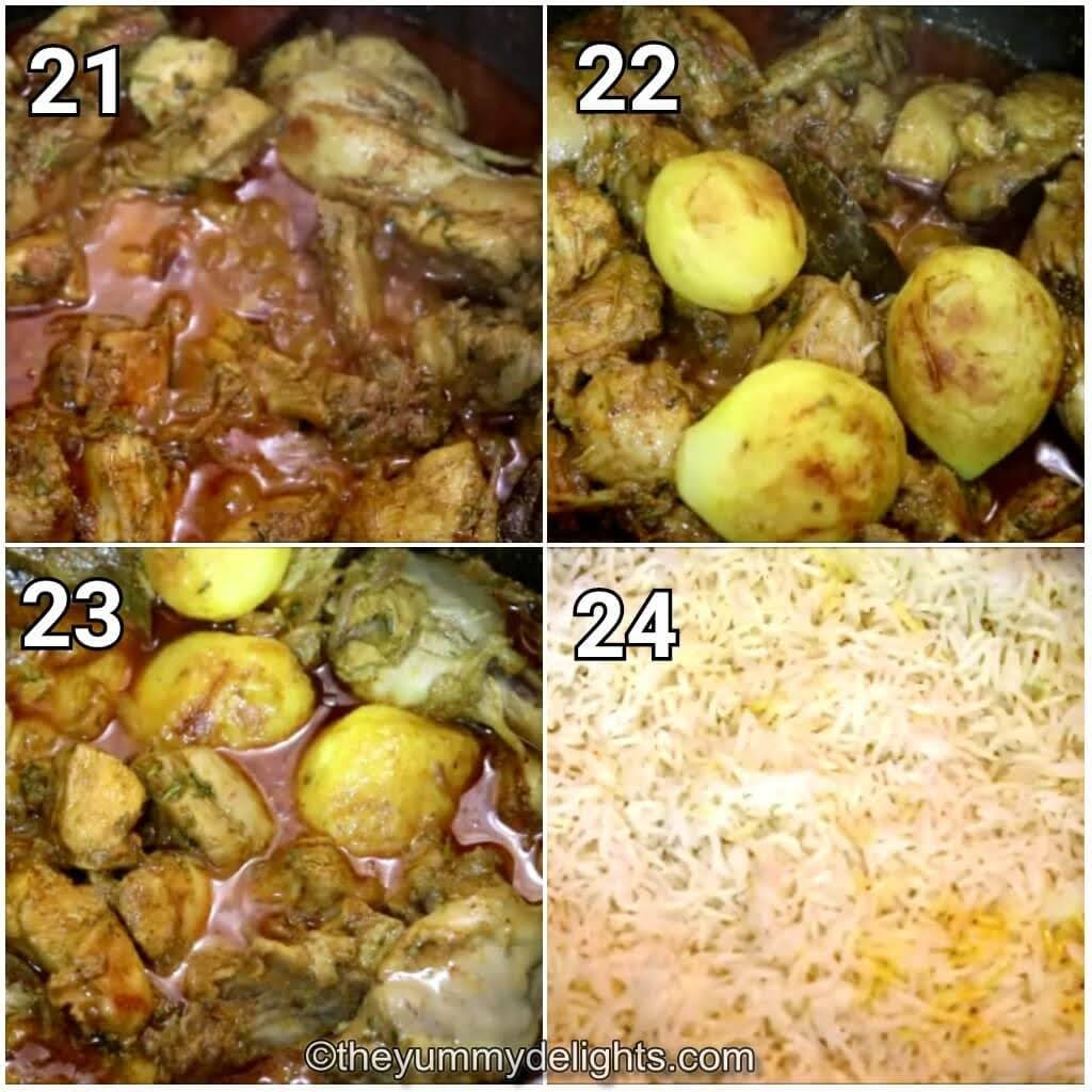 image collage of addition of potaotes and layering the rice over Kolkata style chicken biryani