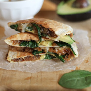 Caramelized Onion, Spinach, and Avocado Quesadillas.