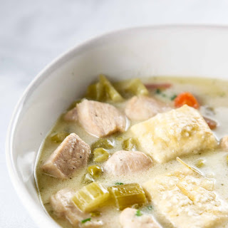 Chicken Pot Pie Soup with Pie Crust Croutons.