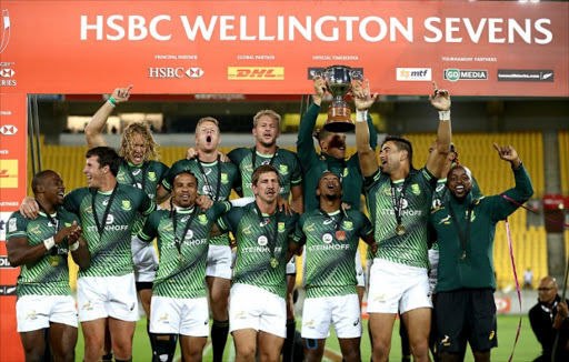 The Blitzboks after winning the HSBC Wellington Sevens tournament. File photo.