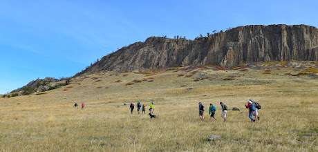Photo: 10 high school students, along with Mr. Lynn and I did the hike. Here we are on south side of the Butte.