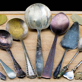 Spoons by Helen Nickisson - Artistic Objects Antiques ( old, spoons, tarnished, antique )