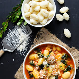 Easy Italian Gnocchi Soup with Sausage & Spinach.