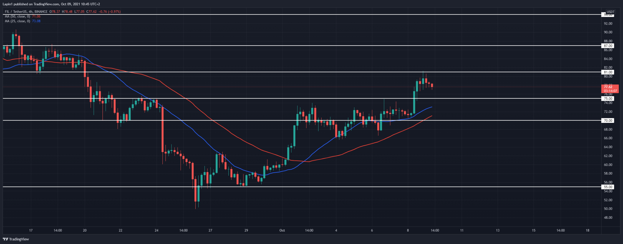 Filecoin Price Analysis: FIL spikes above $75, finds resistance at $81