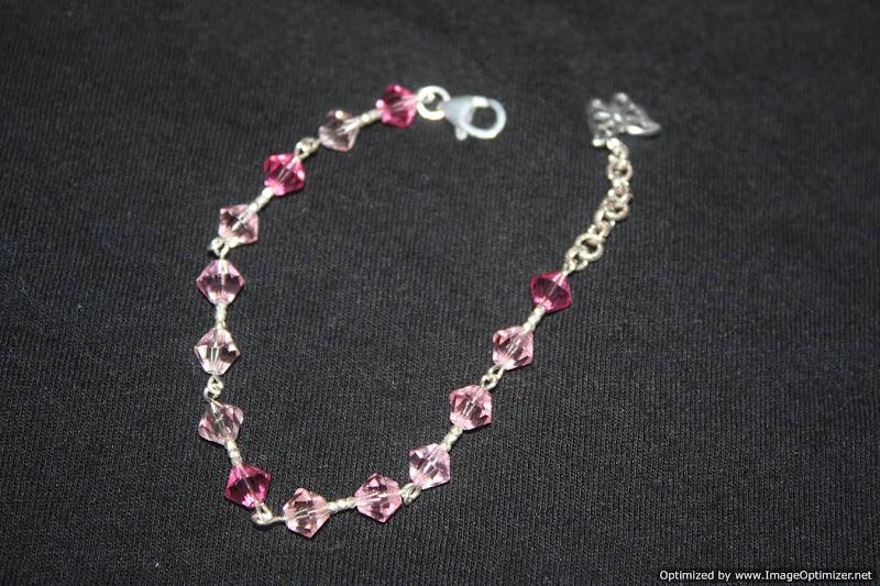 Photo: Graduated pink swarovski crystals and sterling silver bracelet.