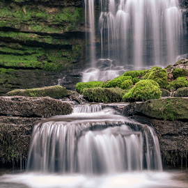 Scaleber  by Darrell Evans - Nature Up Close Water ( outdoor, falls, scaleber force waterfall, yorkshire dales, rocks, grass, waterfall, water, flow, stone )