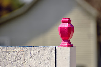 Photo: Pink finial. A new business neighbor is re-doing the sign. I think it's going to be colorful.