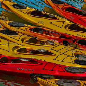 Colorful Kayaks by Keith-Lisa Bell Bell - Transportation Other ( colorful, kayaks, digital art, sea, digital photography,  )