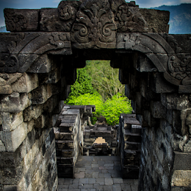 Gate of the temple by Norbertus Andreanto Photos - Buildings & Architecture Statues & Monuments ( budha, magelang, gates, java, borobudur, candi, monuments, budhism, temple, history, indonesia, stone )