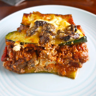 Zucchini Lasagna with Meat Sauce and Mushrooms (paleo-friendly, GF)