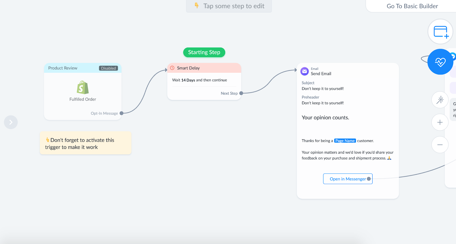 Flow to get customer reviews