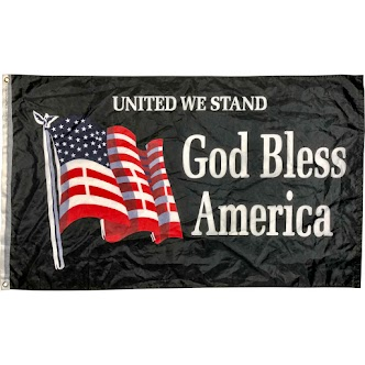 Image with US Flag and Text Saying God Bless America