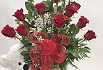 JUMBO DOZEN OF ROSES WITH A BEAR & CHOCOLATE (30 INCHES TA