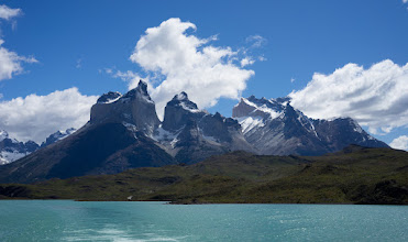 """Photo: View of the park's iconic Los Cuernos (""""horns"""") from the catamaran"""