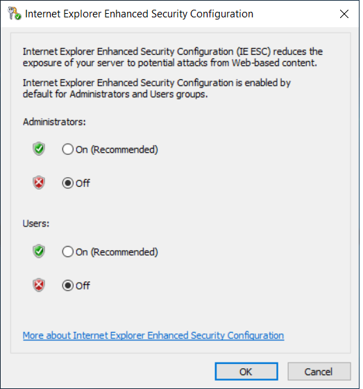 Disable Internet Explorer Enhanced Security Configuration for Administrators and Users