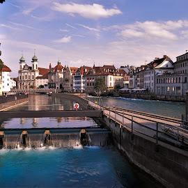 by Phil Bear - City,  Street & Park  Vistas ( dam, lucerne, city, switzerland, river, bridge )