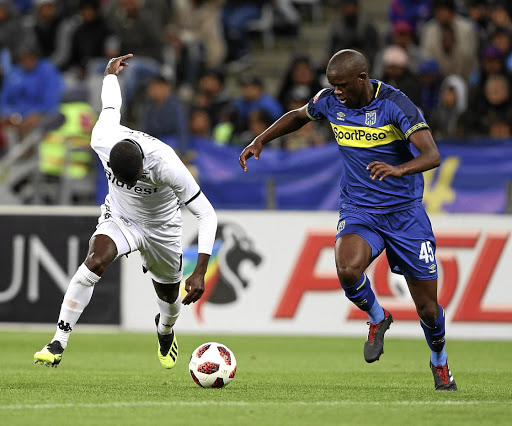 Kwanda Mngonyama, right, of Cape Town City fights for the ball with Bidvest Wits' Deon Hotto. Mngonyama has his teammates will take the battle to SuperSport United in the Nedbank Cup this weekend. /Carl Fourie/Gallo Images