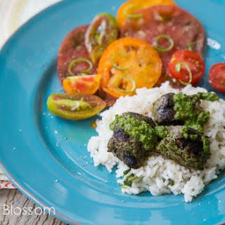 Chimichurri Steak With Fresh Tomato Salad.