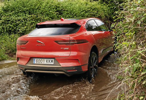 Yes, we took an electric vehicle through a river and it wasn't a shocking experience. Left: Great driving position, good interior space and decent equipment. Picture: JAGUAR