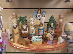 Photo: I bought an adorable Santa wood carving at this store.  This nativity scene, costing about $1,500, is by the same artist.  Their work is similar to the wood carvings found in Russia.