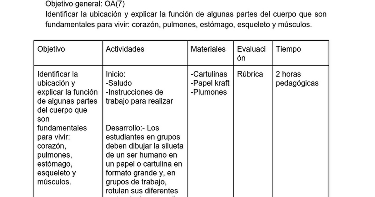 planificación ciencias naturales 2° básico - Google Docs