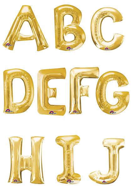 Folieballong bokstav A-J, guld