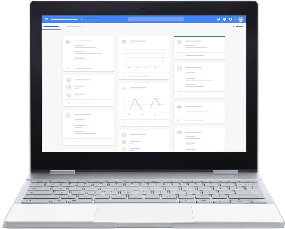 Laptop Chromebook sul quale è visualizzata la dashboard Google.