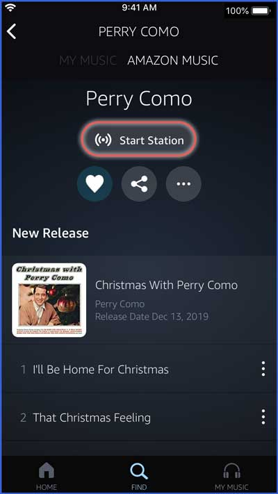 amazon music app - listen to station