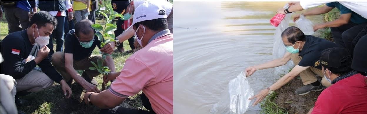 Selain Dilakukan Penghijauan, Bendungan Selotinatah Juga Ditaburi Benih Ikan Tombro