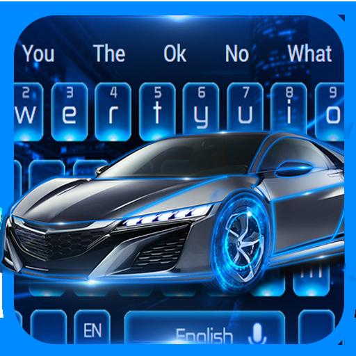 Neon Sports Car Keyboard Theme