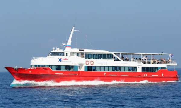Travel from Koh Samui to Nakhon Si Thammarat Airport by Seatran Discovery High Speed Ferry and Shared Minivan
