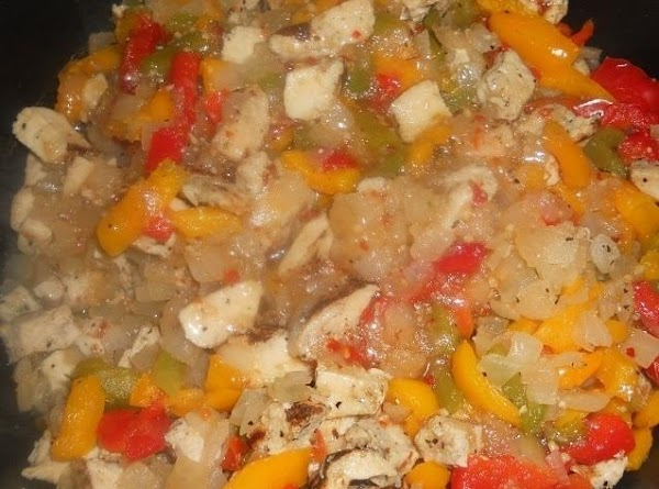 Sautee the onions and peppers over medium heat until tender and season to taste...