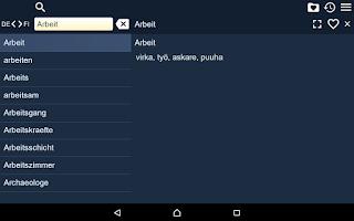 Screenshot of Finnish German Dictionary