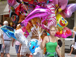 """Photo: Colorful scenes at the main square or """"plaka"""" in Athens."""