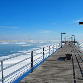 Wintry Harbor by Bill Diller - Buildings & Architecture Other Exteriors ( lighthouse, michigan, great lakes, harbor, walkway, winter, ice, tranquil, peaceful, calm, pier, snow, calmness, tranquility, lake huron )