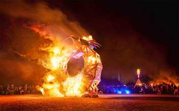 """Photo: Texas Snake Burn  The night before they burn the Burning Man itself, they have something called a """"regional burn"""", where many smaller structures are burned down. This amazing structure, a snake eating its own tail, is where +Cliff Baise and I ended up.  And only after doing it did we find out it was made by some Austin artists!  So things got burning, and Cliff and I were sitting down taking photos. Then, once things really started going, our faces started burning so much that we had to retreat! So we scrambled up with 500 different people and started running away! It was so crazy!  As we ran, we could still feel the heat pounding out our back. And it hurt like you don't know... there was a mild amount of panic in our escape! I'm sure Cliff and I will never forget it.  #SICInDatabase"""