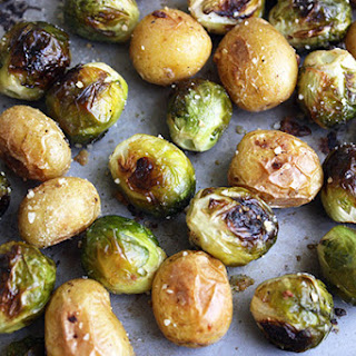 Roasted Brussels Sprouts & Potatoes.