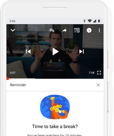 A Google phone screen showing a YouTube reminder.