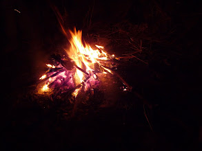 Photo: Camp fire to beat the cold