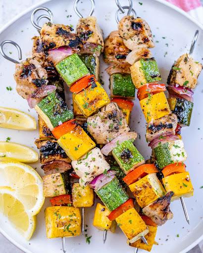 Summer Veggie + Marinated Chicken Kabobs