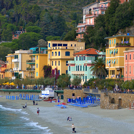 Monterosso #1 by Cal Brown - City,  Street & Park  Vistas ( pastels, city, street, beach, monterosso, village, park, italy )