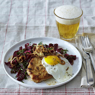 Pork Steaks with Fried Egg and Beet Salad.