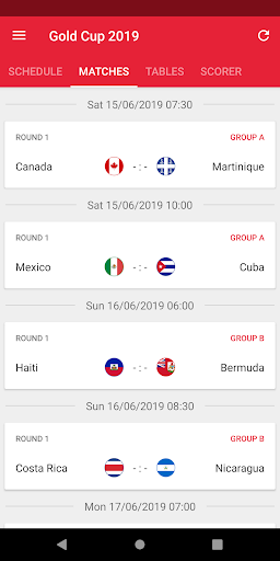 Gold Cup Scores App 2019 - Soccer Cup - screenshot